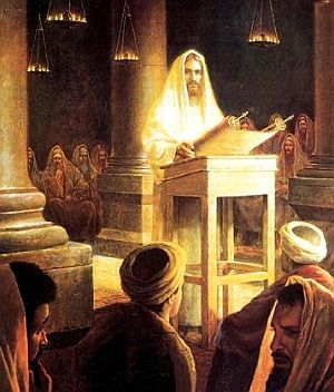 Yeshua Unrolls the Scroll in the Synagogue